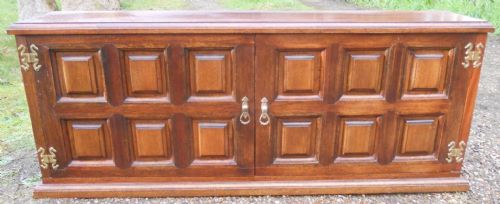 Panelled Oak Long Low Cupboard